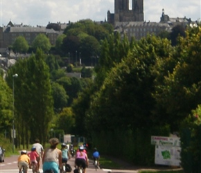 Descending in Coutances with it's striking double spired cathedral