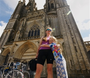 Sarah and louise under Coutances Cathedral