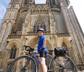 James in front of Coutances Cathedral