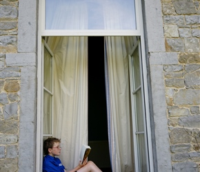 James catches up on his book back at Chateau de Halloy