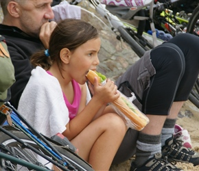Abbie lunching at Quinnerville. There were an awful lot of baguettes eaten on these holidays