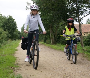 Caitlin and Ruby on Cycleway from Bricquebec