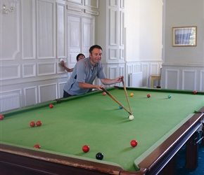 Kevin practices for the inevitable snooker tournament