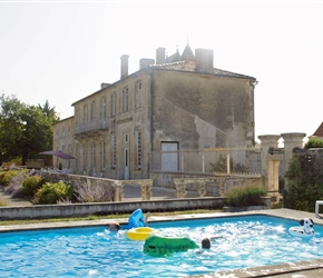 With three pools at the chateau, the teenagers and children took the larger one, filled with inflatables it was rarely free