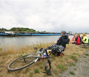Watching the barge pass on the Elbe parallel canal