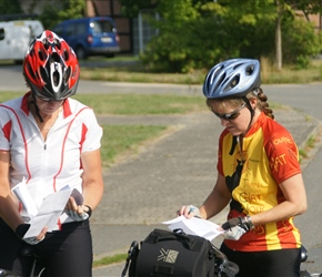 Karen and Sarah check that the route sheets are in fact correct at Mussingen