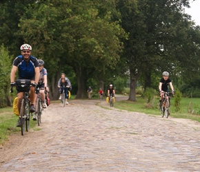 The thing with cobbles is do like the professional racers do, use the edges as Robin and Hiliary are doing