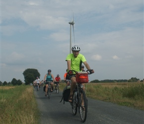 Jonathan passes windmill at Banzau