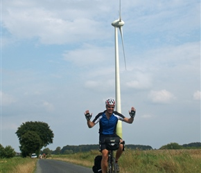 Robin passes windmill at Banzau