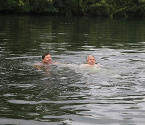 Neil and Robin swimming