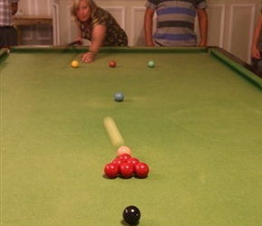 Jo playing snooker