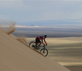 Tool takes the fast way down the dune, Mongolia 2019