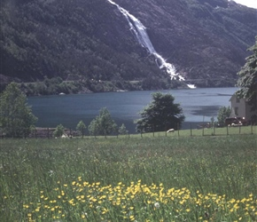 Langefossen Waterfall. The waterfalls in Norway are huge