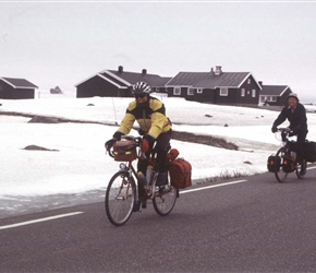 John and Patrick leave Valdresflya YHA