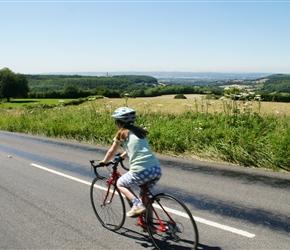 Louise cycles parallel to the Severn Valley